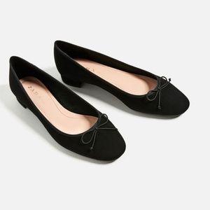 Zara Size 5 Bow Faux Suede Ballet Flats